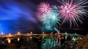 Gearing up for bonfire night... This fabulous fireworks display over Saundersfoot, near Tenby, was captured by Mathew Browne