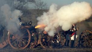 Cannon fire during the re-enactment of the battle