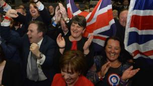 DUP leader Arlene Foster applauds her party's success