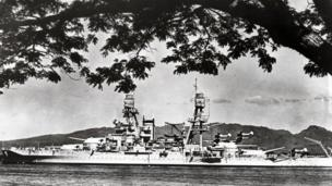 This file photo shows the USS Arizona making its way out of the channel of Pearl Harbor, Hawaii in 1940