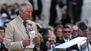 "Prince Charles delivered a speech, remembering the ""courage and bravery"" of the men who fought"