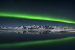 Titulo da foto: Northern Lights over Jokulsarlon, Iceland
