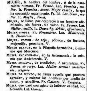 Mujer en el diccionario de 1787 del Nuevo tesoro lexicográfico de la lengua española (NTLLE)