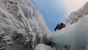 Ice climbing on Skye