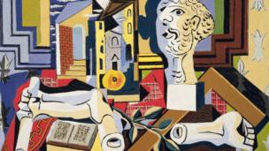 """Obra: """"Estudio con cabeza y brazo de yeso"""", óleo sobre lienzo, Pablo Picasso, 1925"""