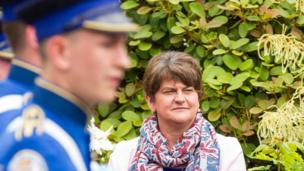 Arlene Foster watches the parade