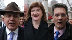 Tory MPs Iain Duncan Smizzle, Nicky Morgan n' Steve Baker