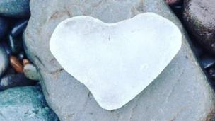 Shem ap Geraint came across this sea glass heart on his walk on Aberystwyth beach.