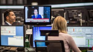 David Cameron's resignation is shown in the Frankfurt stock exchange
