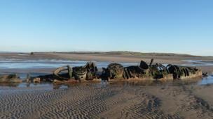 WWII mini-submarine on Boxing day walk near Aberlady