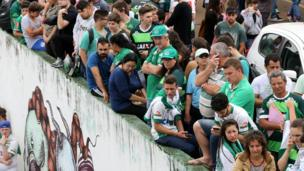 Fans gathered at Chapecoense Real's Arena Conda stadium