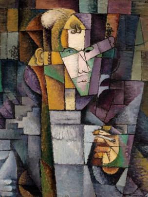 "Obra: ""Retrato del escultor Elie Indenbaum Hombre del cigarrillo"", óleo sobre lienzo, Diego Rivera, 1913"