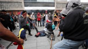 Un herido en la protesta en la Asamblea Nacional