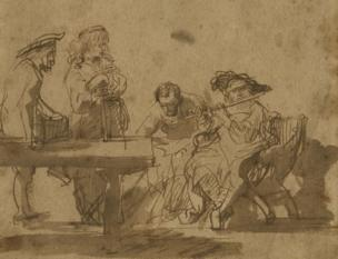 Rembrandt's Group of Musicians Listening to a Flute Player