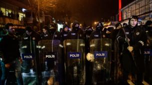 A police line in the early hours outside the nightclub