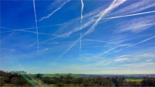 Wonderful geometric vapour trails over Oxfordshire this Mother's Day afternoon