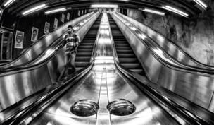 Escalators in black and white