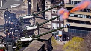 Officer Cadets from Tayforth University Officer Training Corps fire a 21-gun salute to mark the 90th birthday of the Queen on Mills Mount Battery at Edinburgh Castle