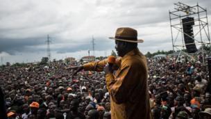 Oktoba,20 2017: Raila Odinga, akizungumza na wafuasi wake baada ya kujiondoa katika kinyang'anyiro cha uchaguzi wa marudio uliopangwa kufanyika Oktoba 26.
