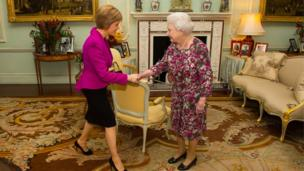 Queen Elizabeth holds an audience with the First Minister of Scotland Nicola Sturgeon at Buckingham Palace on December 10, 2014