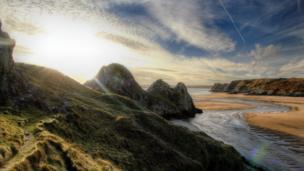 Three Cliffs Bay , Gower