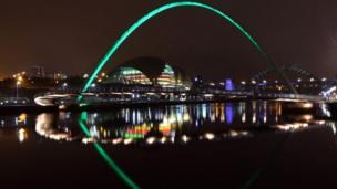 Gateshead Millennium Bridge over the River Tyne