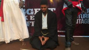 A samurai on his knees