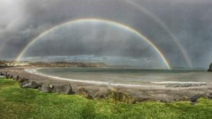 Double rainbow at Lydstep Haven, Pembrokeshire, by Joanna Lynas