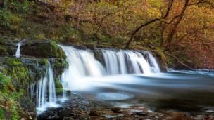 Sgwd Ddwli Isaf Waterfall at Pontneddfechan, Powys