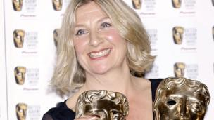 Victoria Wood with the two Baftas she won for Housewife 49 in 2007