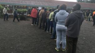 Short queue for Moi Avenue Primary School-di largest polling centre for Nairobi.