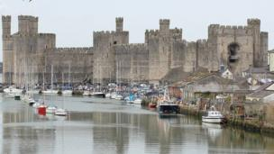 The imposing Caernarfon Castle protecting the Menai Strait was captured during an Easter weekend stroll by Greg Mape