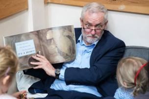 Labour party leader Jeremy Corbyn reads the book 'We're Going on a Bear Hunt' to children at a visit to Brentry Children's Centre
