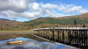 Penmaenpool Bridge by the George Hotel on the Mawddach