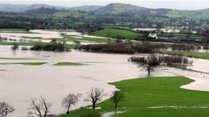 Fields underwater after the river Towy burst its banks near Dryslwyn Castle, Carmarthenshire, courtesy of Stuart Ladd from Ammanford.