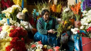 Flower market in Peru