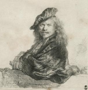 Rembrandt's Self Portrait Leaning on a Stone-sill