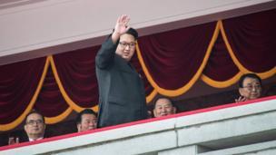 North Korean leader Kim Jong-Un waves