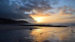 Sunrise at Langland Bay in Gower