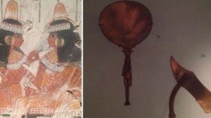 Ancient Egyptian art and mirror