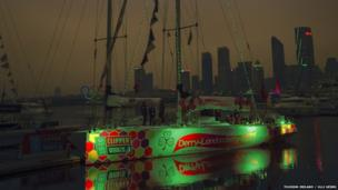 The Derry-Londonderry Clipper Race yacht moored in Qingdao, China
