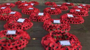 Poppy wreaths laid out in Cardiff for Remembrance Sunday