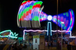 The lights of a funfair