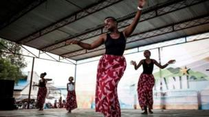 One traditional Congolese dance group perform for stage during di Amani Festival for February.