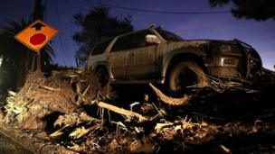 Abandoned car after mudslide in California. 10 Jan 2018