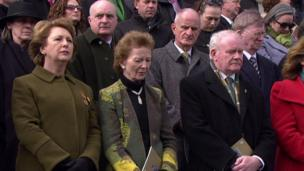 Two former Irish presidents Mary McAleese (left) and Mary Robinson (centre) along with Northern Ireland's Deputy First Minister Martin McGuinness at the commemorations