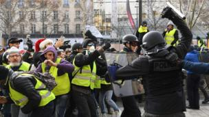 Police push back protesters in Paris