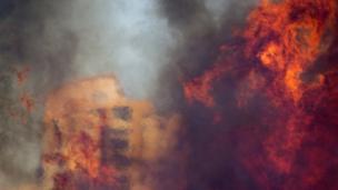 A wildfire rages in Haifa, Israel, Thursday, Nov 24, 2016