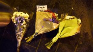 Flowers at the scene of the Westminster attack