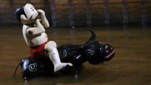 A puppet rides a bull